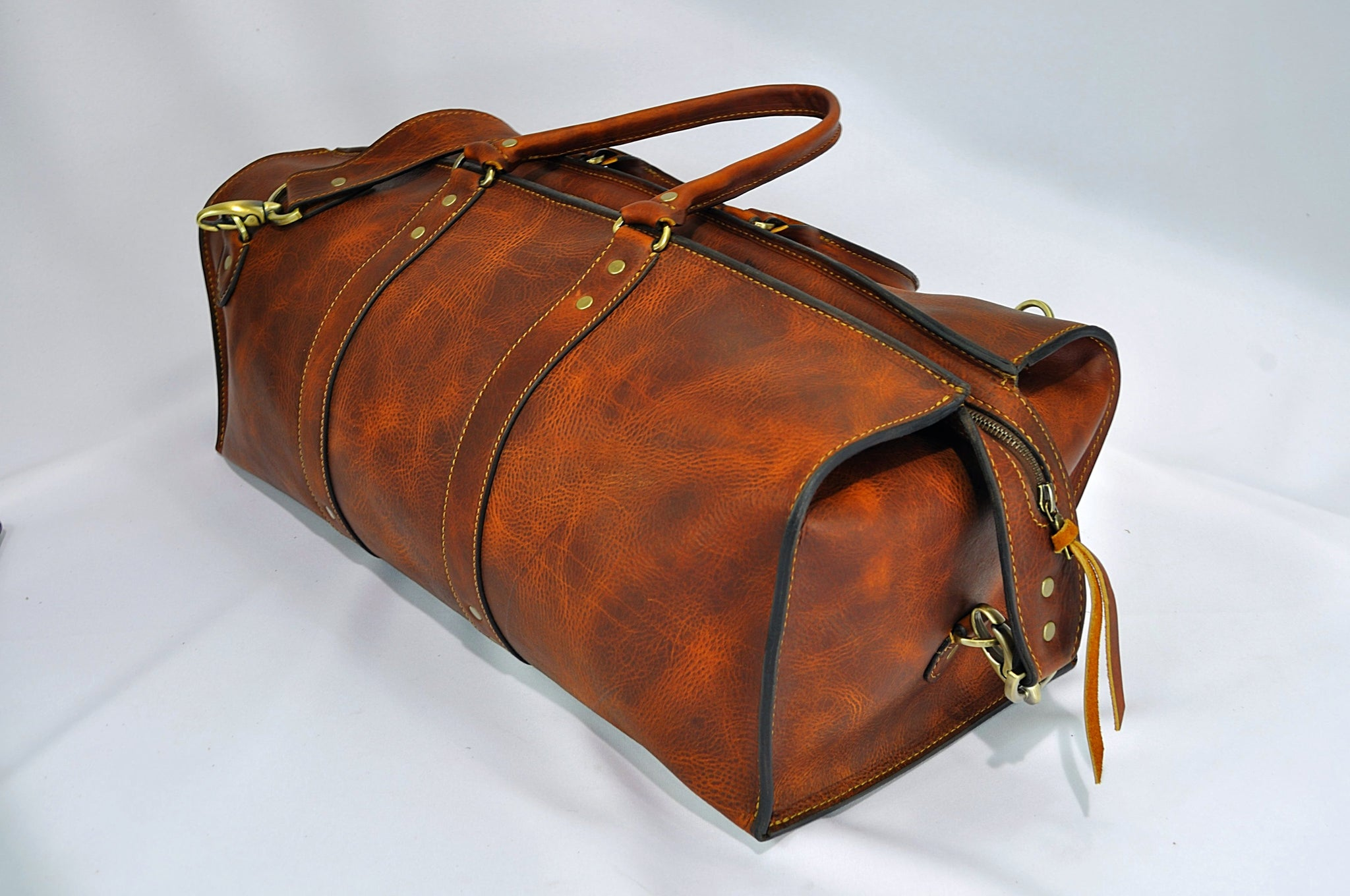 d254892bbc9d 1920 Overnight Duffel Bag (Tobacco Snakebite Leather) - The Speakeasy  Leather Co