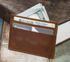 5-Slot Super Slim Front Pocket Card Sleeve Wallet (Rio Latigo Leather) - The Speakeasy Leather Co