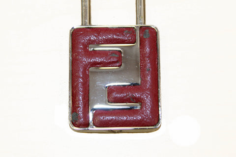 Authentic Fendi Red FF Shiny Silver Key Chain