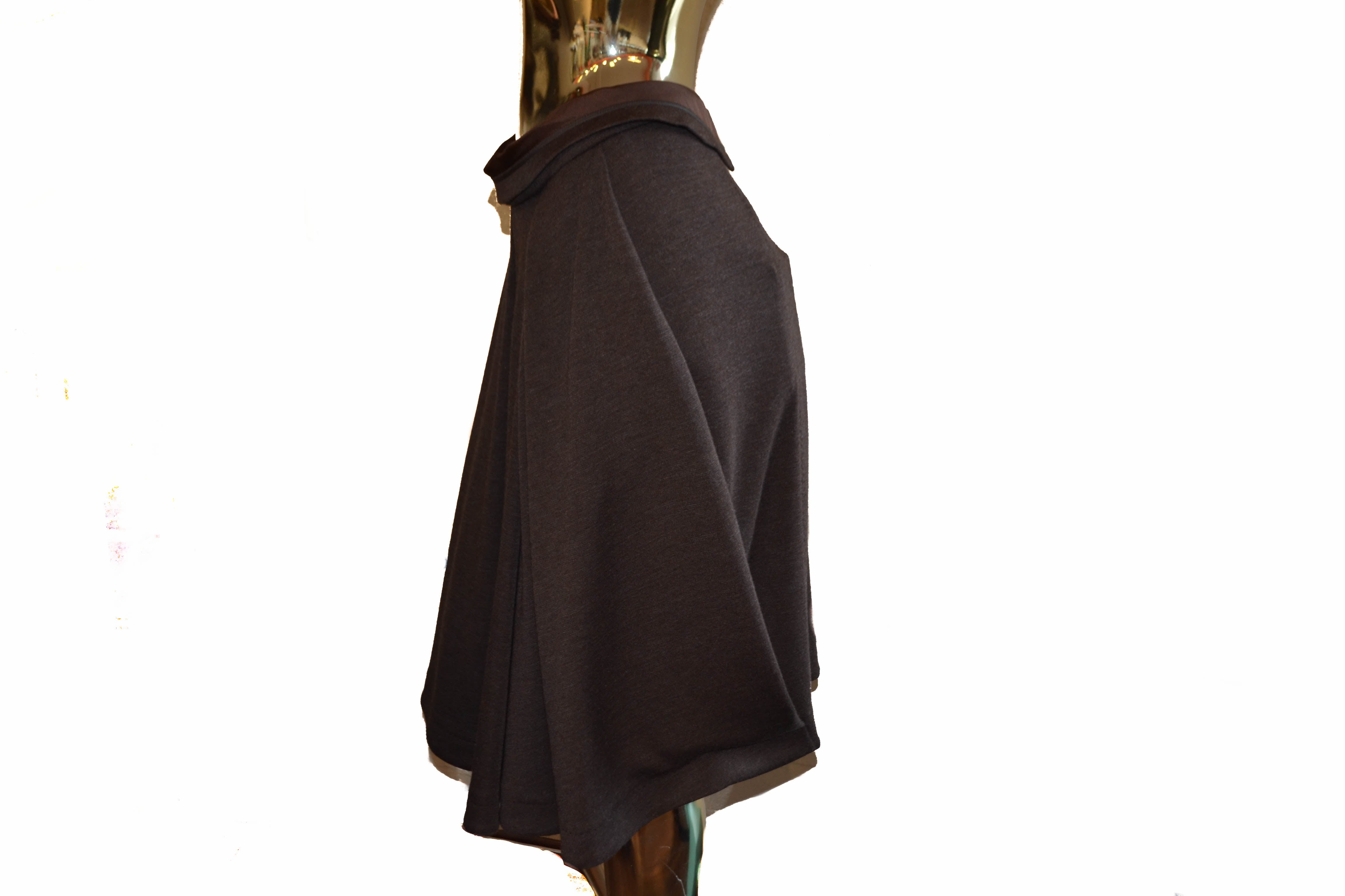Authentic Louis Vuitton Dark Brown Pleats Ski Wool Midi Skirts Size 36