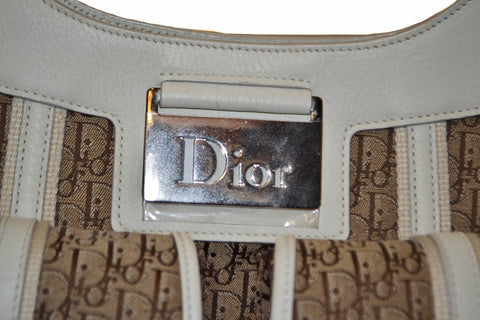 Authentic New Christian Dior White Diorissimo Hobo Shoulder Bag