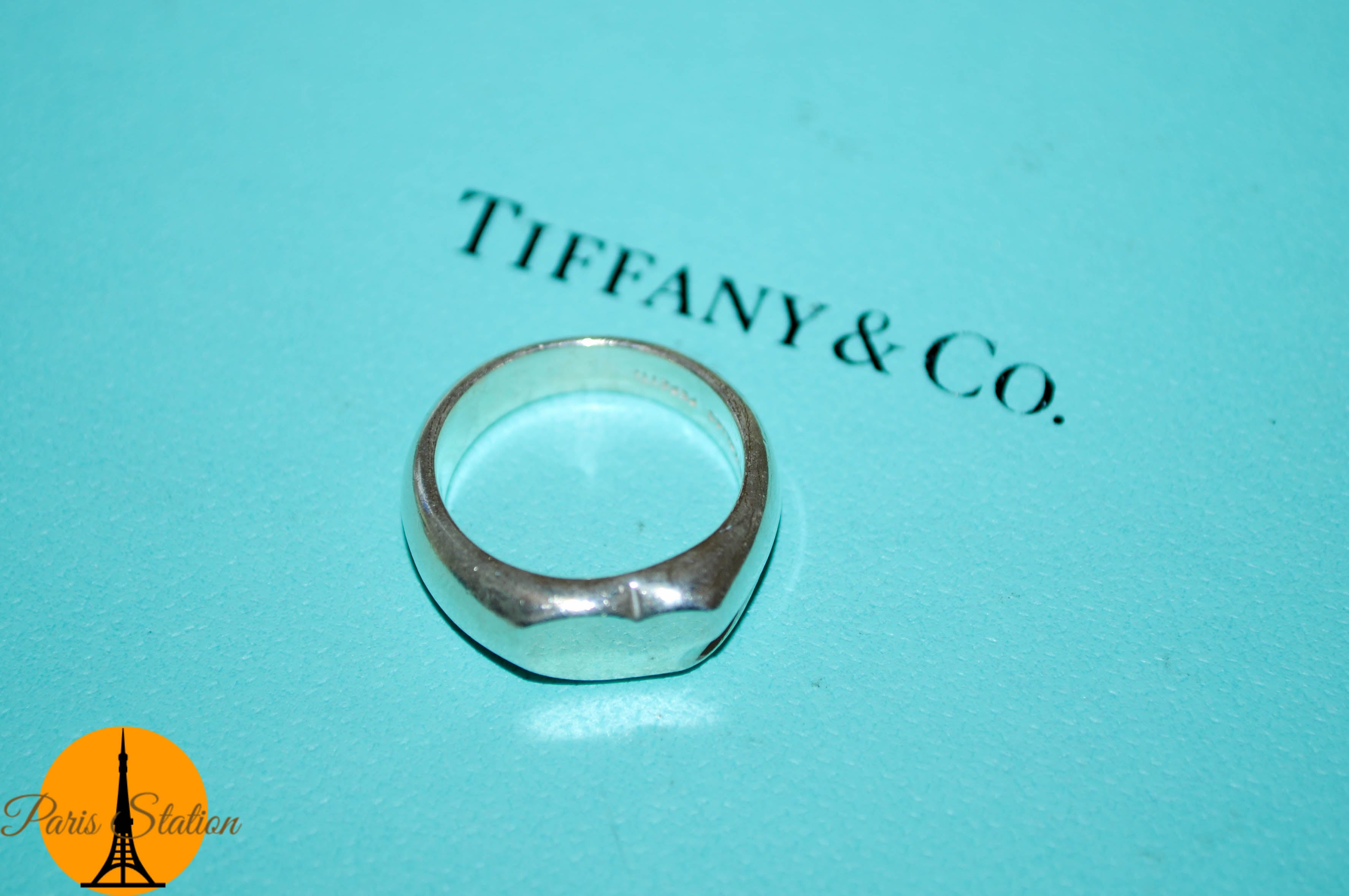 Authentic Tiffany & Co. Solid Heart Sterling Silver Ring 4.5