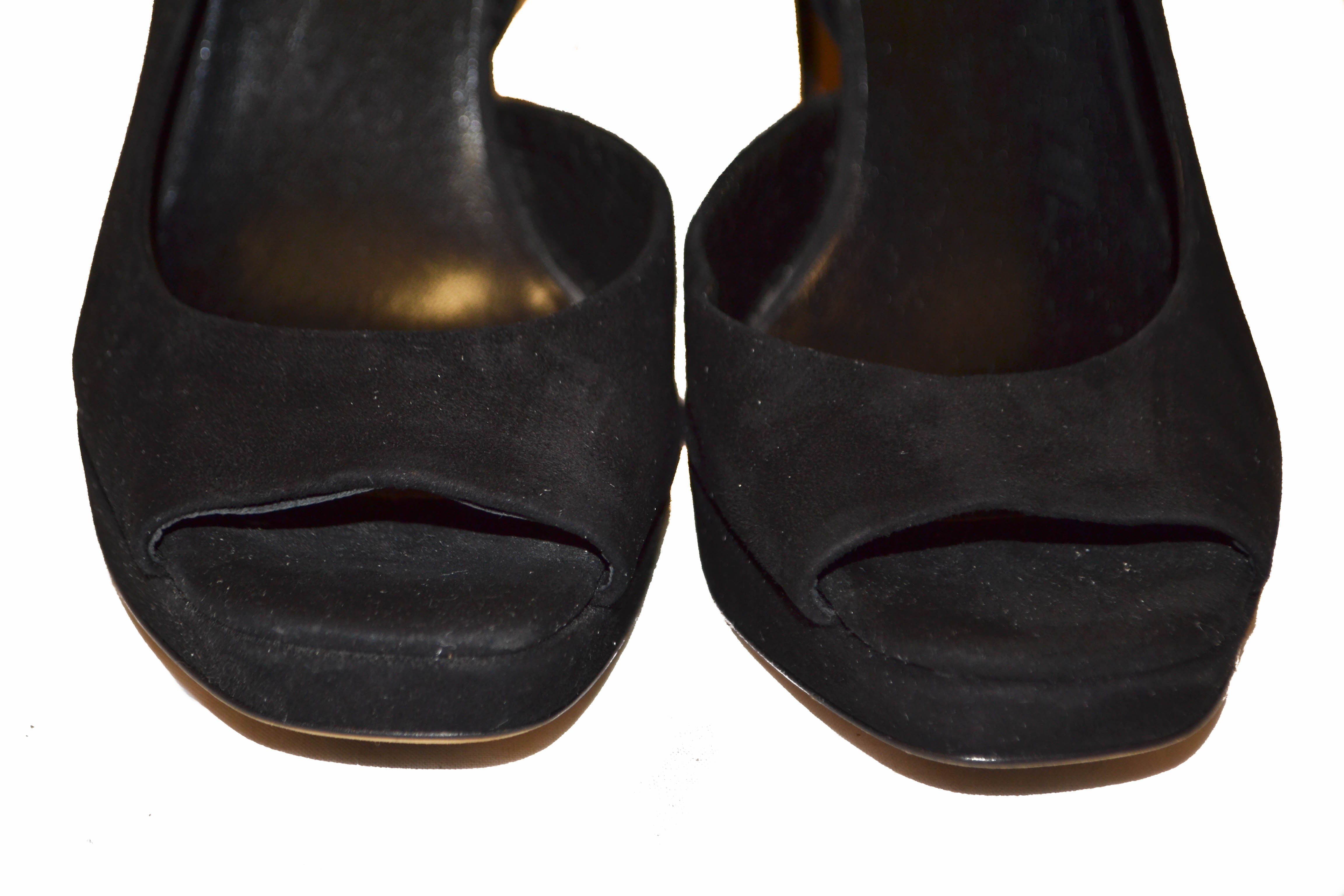 Authentic Miu Miu Black Suede Leather Pumps Shoes - Size 37.5