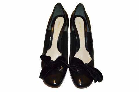 Authentic Marc Jacobs Black Shiny Leather with Suede Bow Pumps Size 39.5