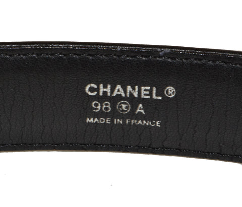 Authentic Chanel Black Leather Small Belt