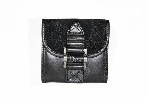 Authentic Christian Dior Black Suede/Lambskin Leather Small Wallet