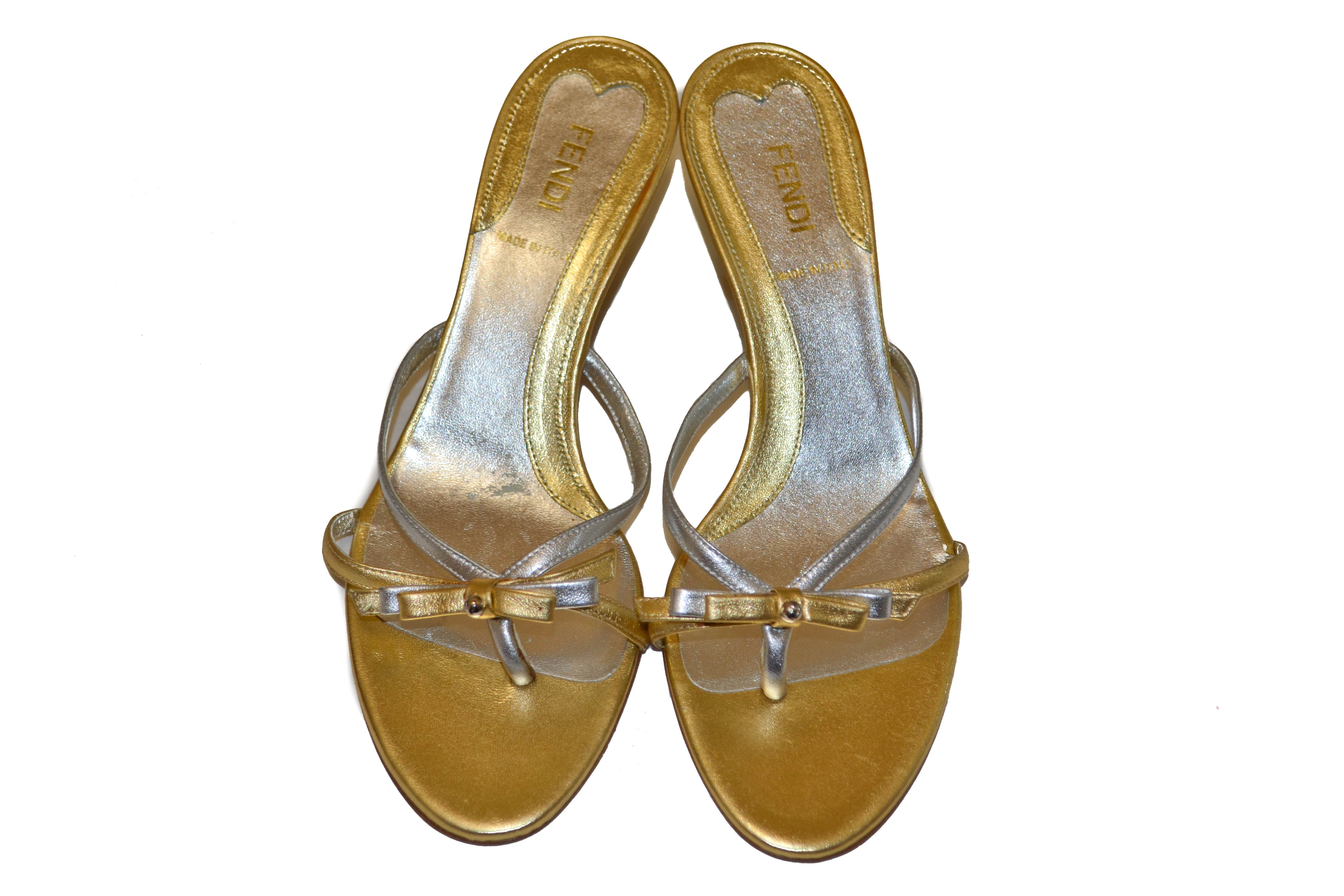 Authentic Fendi Metallic Gold and Silver Ribbon Bow Sandals Shoes Size 37.5