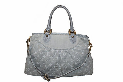 Authentic Louis Vuitton Denim Grey Cabby PM Handbag/Shoulder Bag