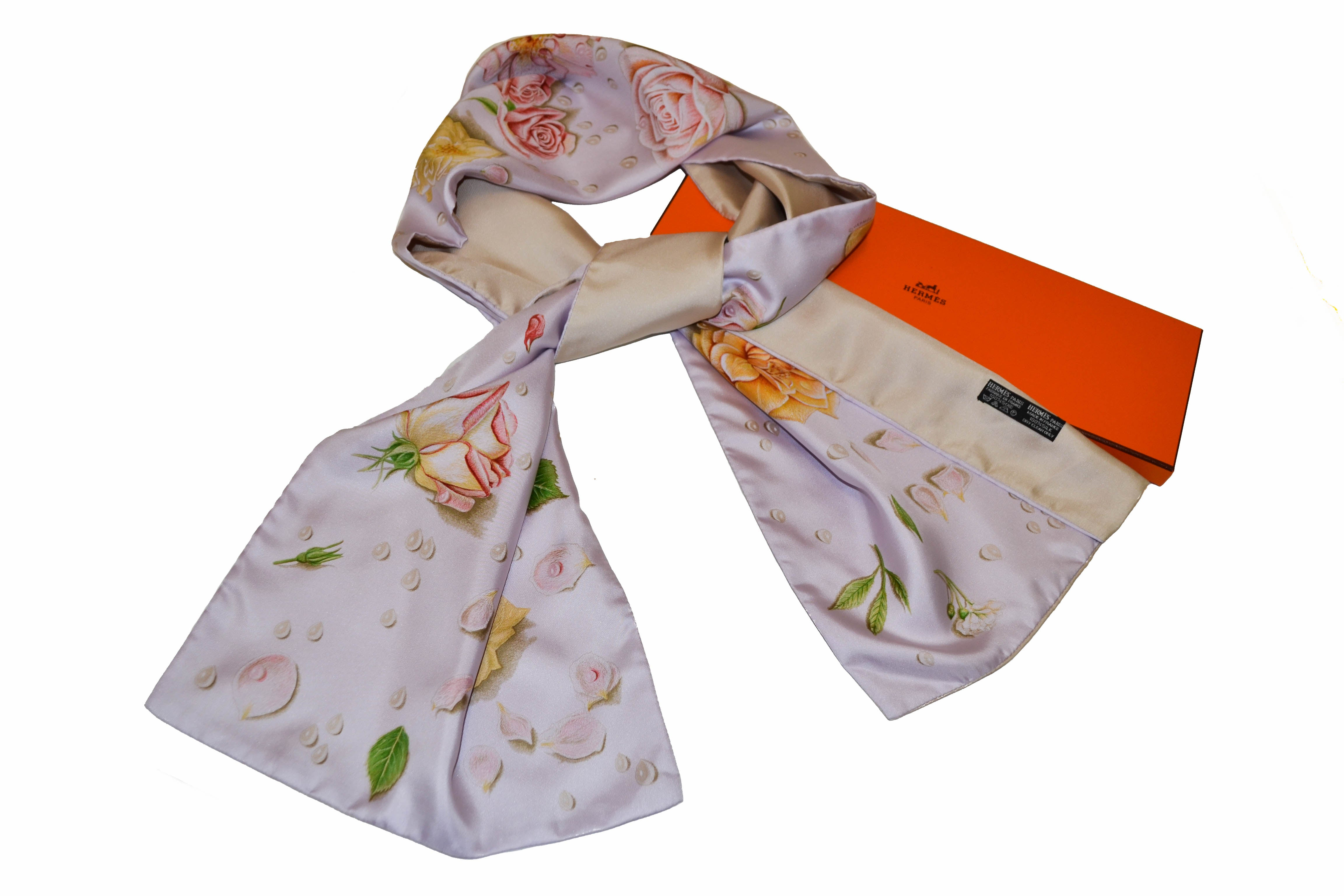 Authentic Hermes Purple Roses Flower 100% Silk Long Scarf