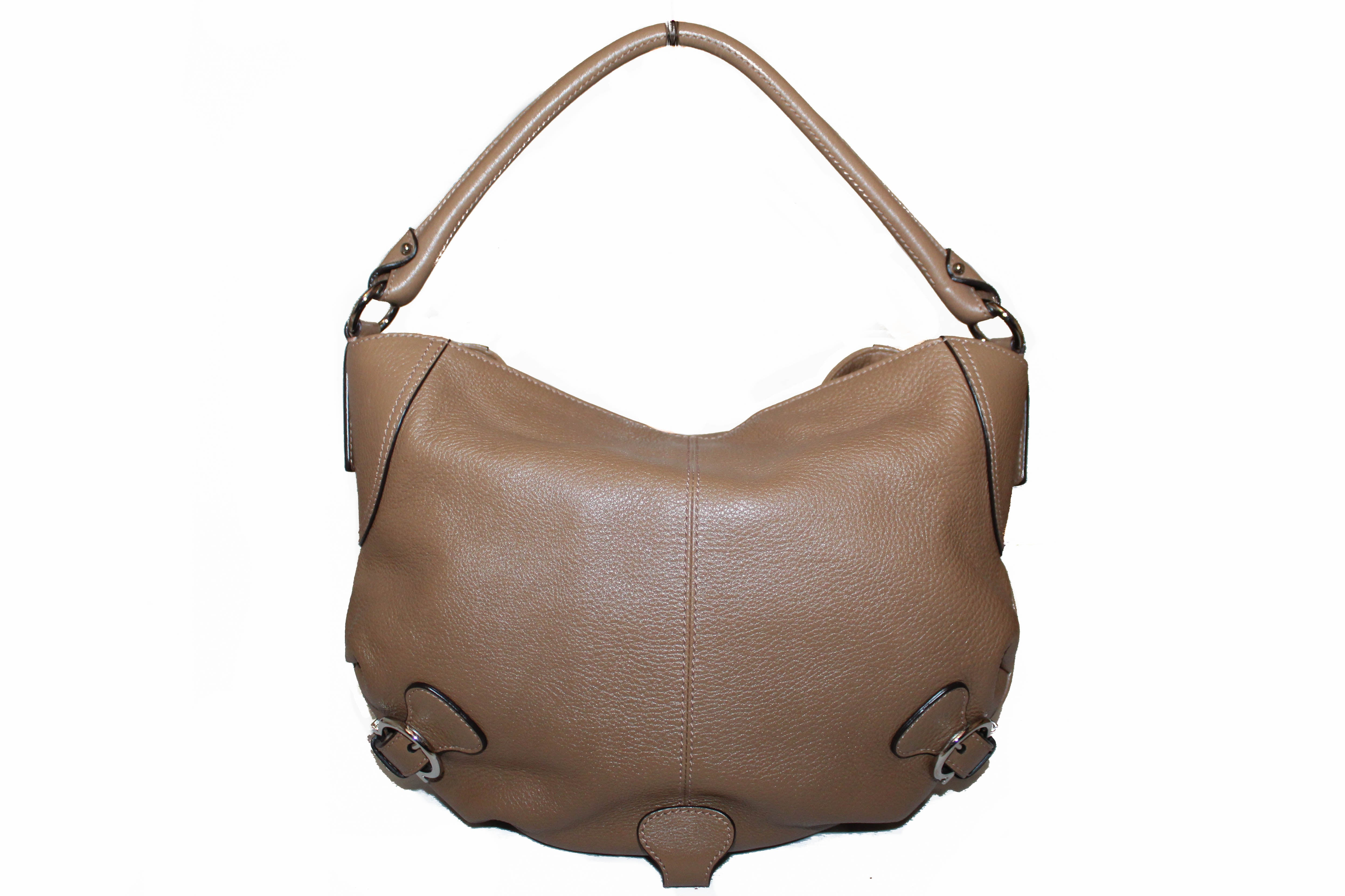 Authentic Salvatore Ferragamo Brown Calfskin Leather Hobo Bag