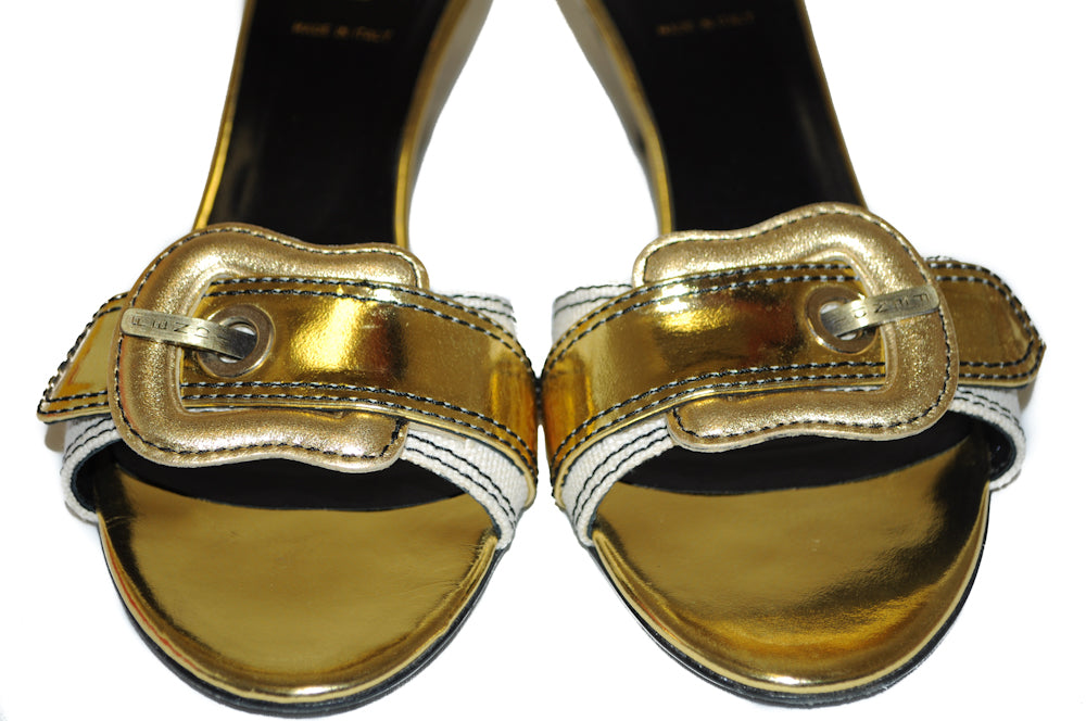 Authentic Fendi Metallic Gold Leather Slip On Sandals Sz 38.5