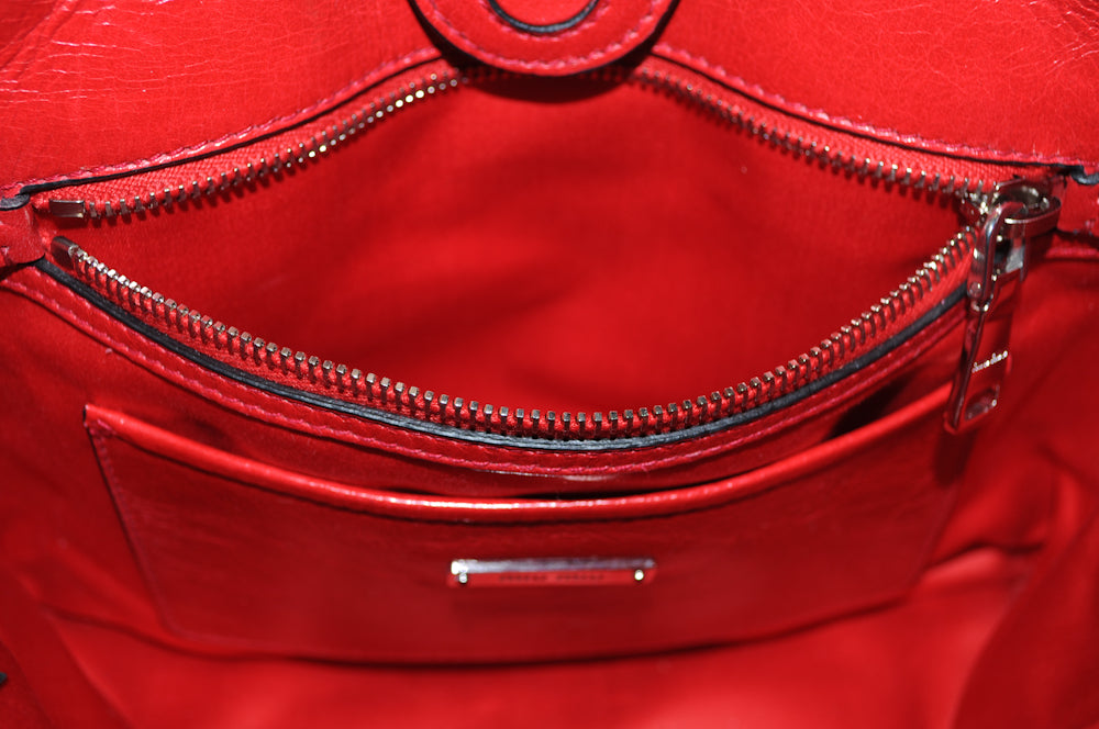 Authentic Miu Miu Red Calf Glazed Leather Top Handle Tote