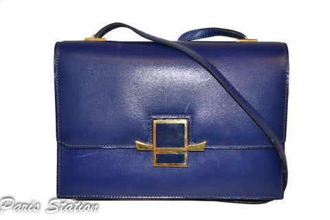 Authentic Hermes Blue Vintage Leather Clutch Messenger Bag
