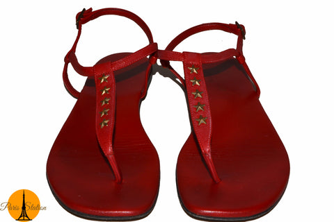 Authentic YSL Yves Saint Laurent Red Sandals Shoes Size 38.5