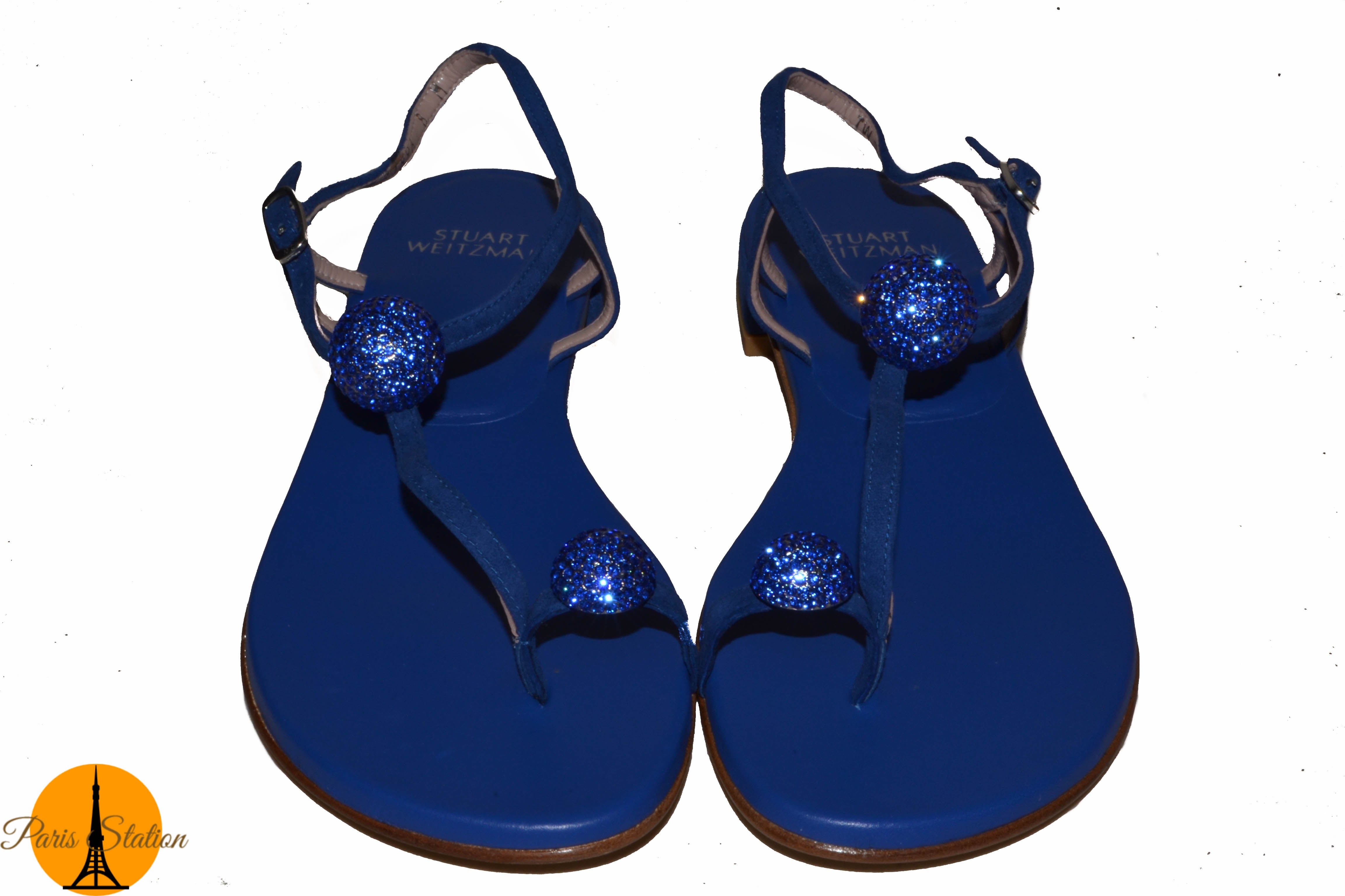 Authentic Stuart Weitzman Blue Sandals Shoes Size 8M