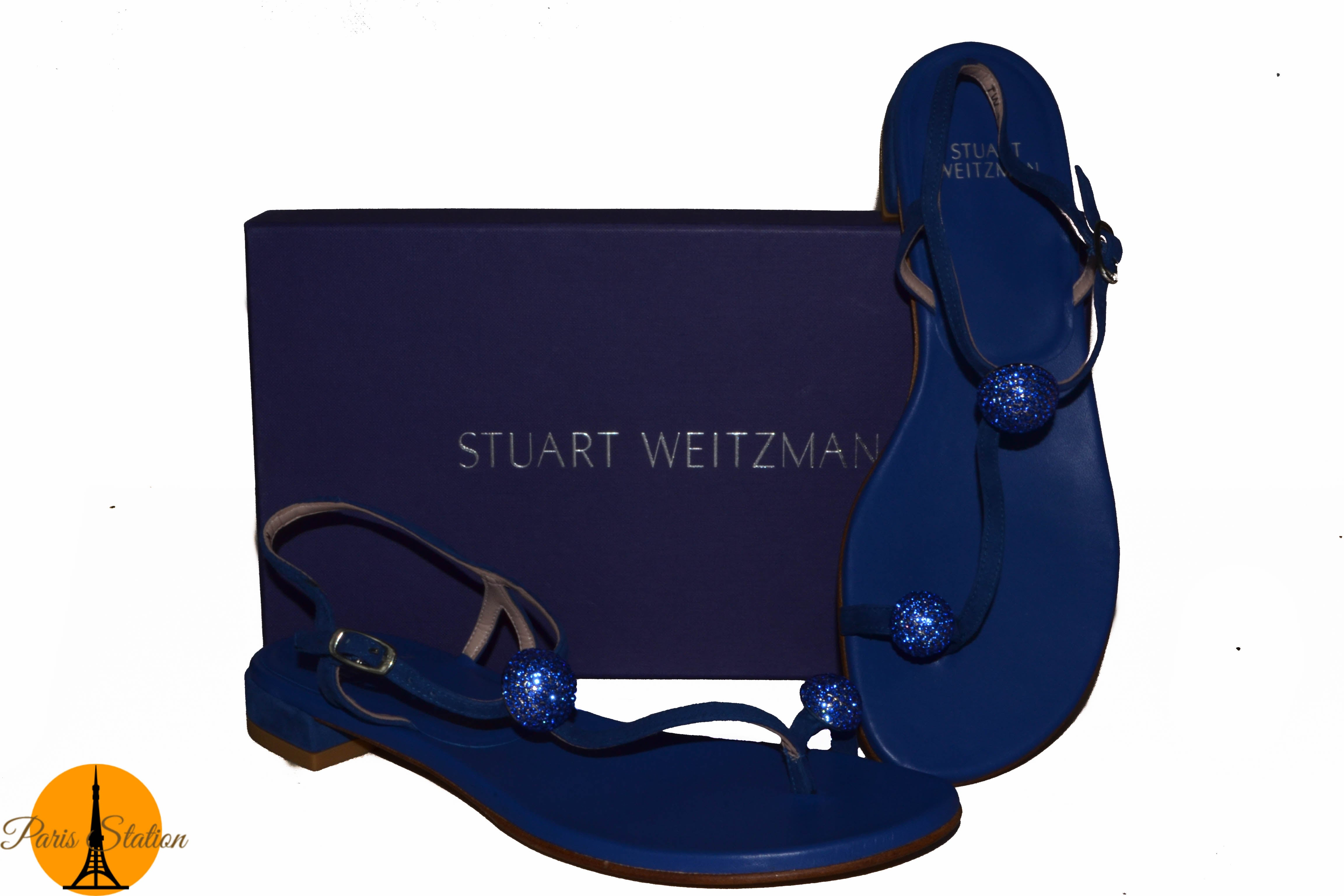 Authentic Blue Stuart Weitzman Balls of Fire Swarovski Sandals Size 8M