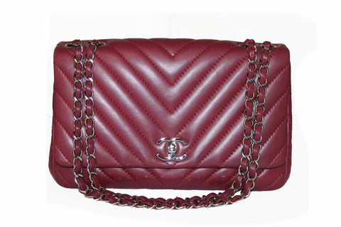 Authentic Chanel Burgundy Surpique Chevron Quilted Lambskin Medium Flap Leather Shoulder Bag