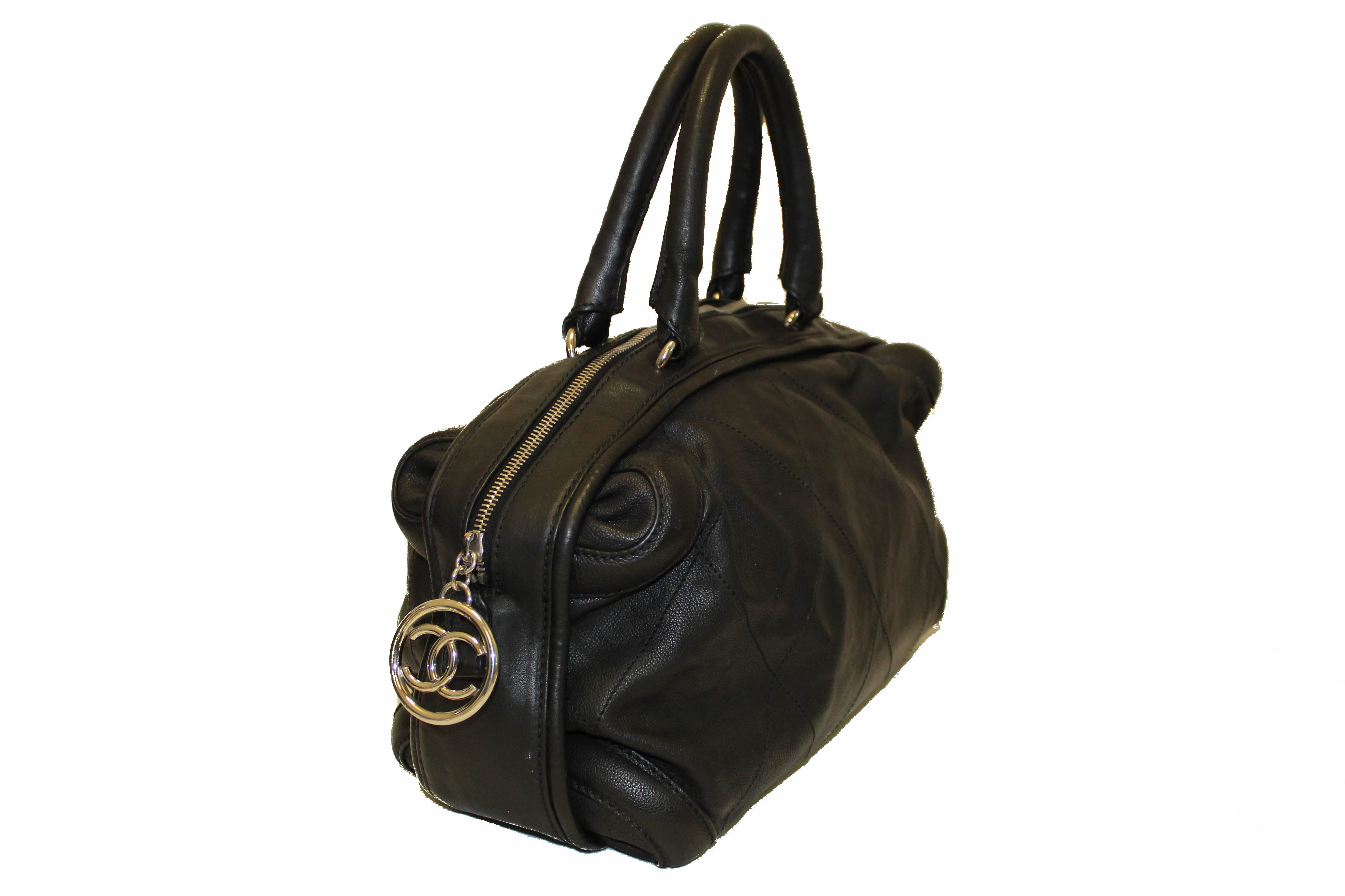 Authentic Chanel Black Calfskin Leather Stitched Bowling Handbag