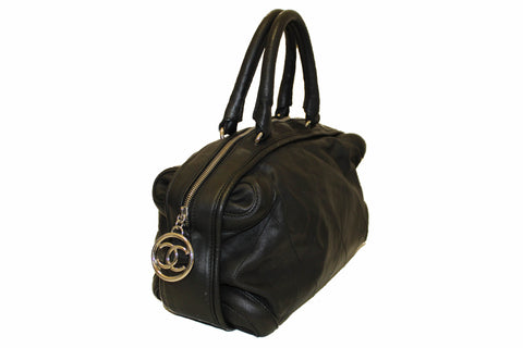 Authentic Chanel Black Calfskin Leather Stitched Bowler Handbag