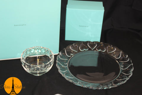 Authentic New Tiffany & Co. Glass Bowl and Plate Set