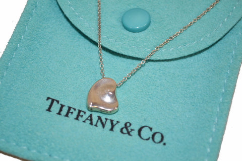 Authentic Tiffany & Co. Sterling Silver Closed Small Heart Necklace 16.5