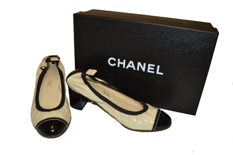 Authentic Chanel Beige Patent Leather Pumps Shoes Size 36