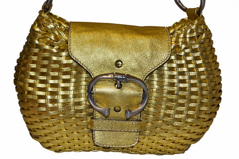 Authentic Prada Gold Woven Leather Small Shoulder Bag