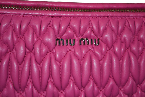 Authentic Miu Miu Pink Matelasse Nappa Leather Clutch