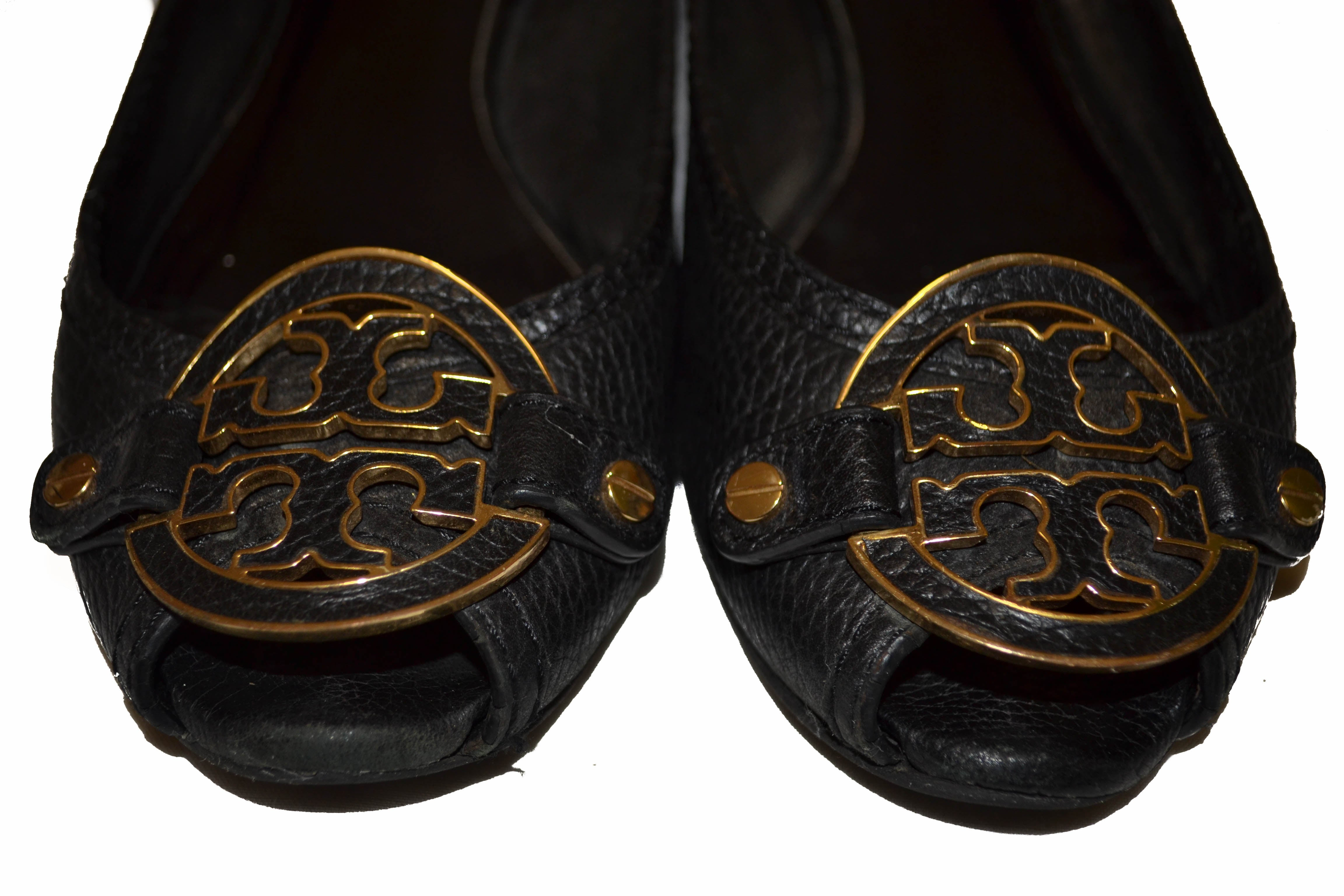 Authentic Tory Burch Black Leather Flats Size 8.5M
