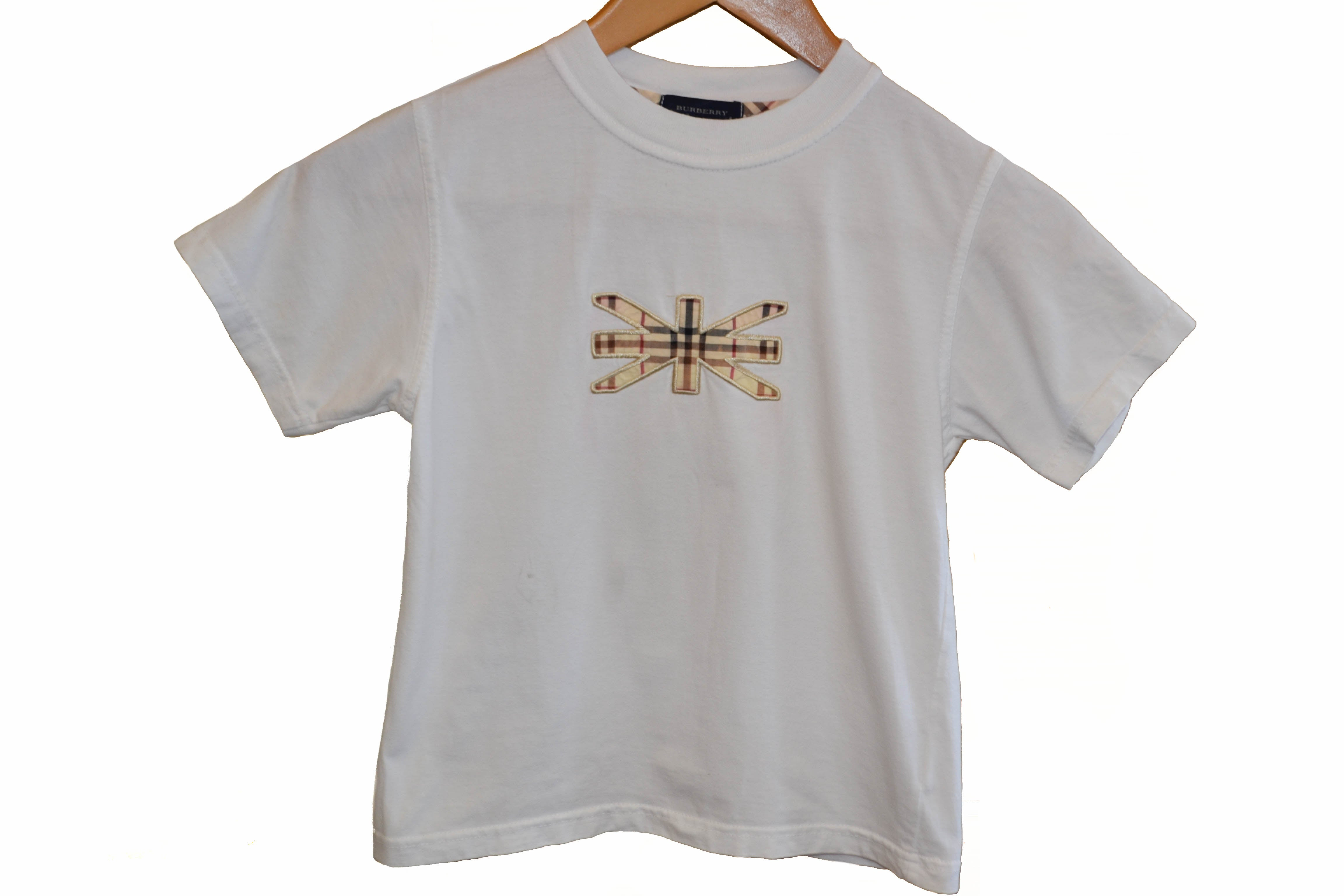 Authentic Burberry British Flag Haymarket Signature White Boy T-Shirt Size 6