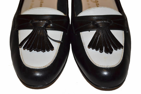 Authentic Salvatore Ferragamo Black/White Kiltie Tassel Loafer Size 6 B