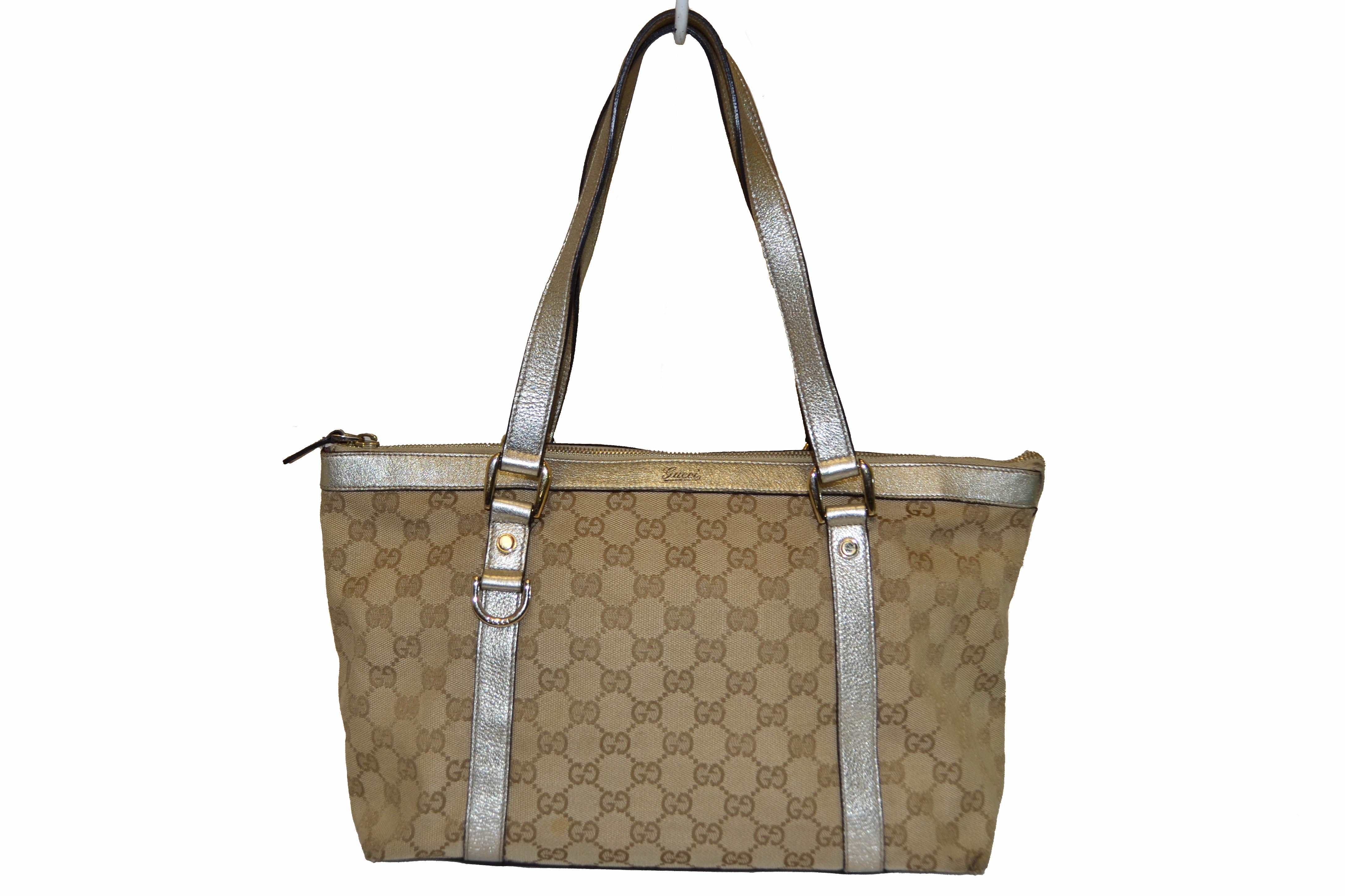 832a19dabaf Authentic Gucci Metallic Gold Leather with Beige GG Monogram Canvas Small Tote  Bag ...