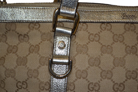 Authentic Gucci Metallic Gold Leather with Beige GG Monogram Canvas Small Tote Bag