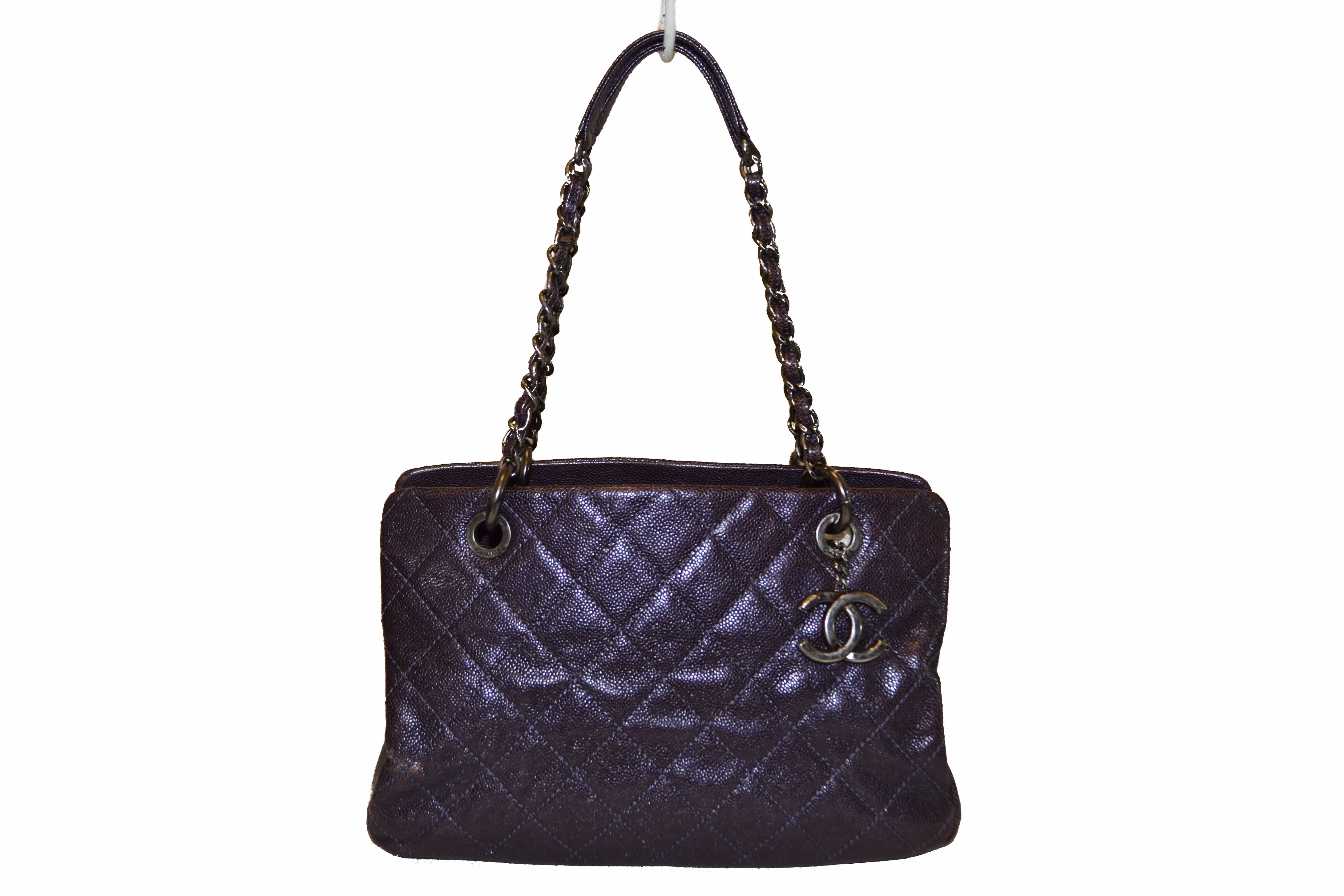 Authentic Chanel Quilted Caviar Leather Metallic Purple Shoulder Bag