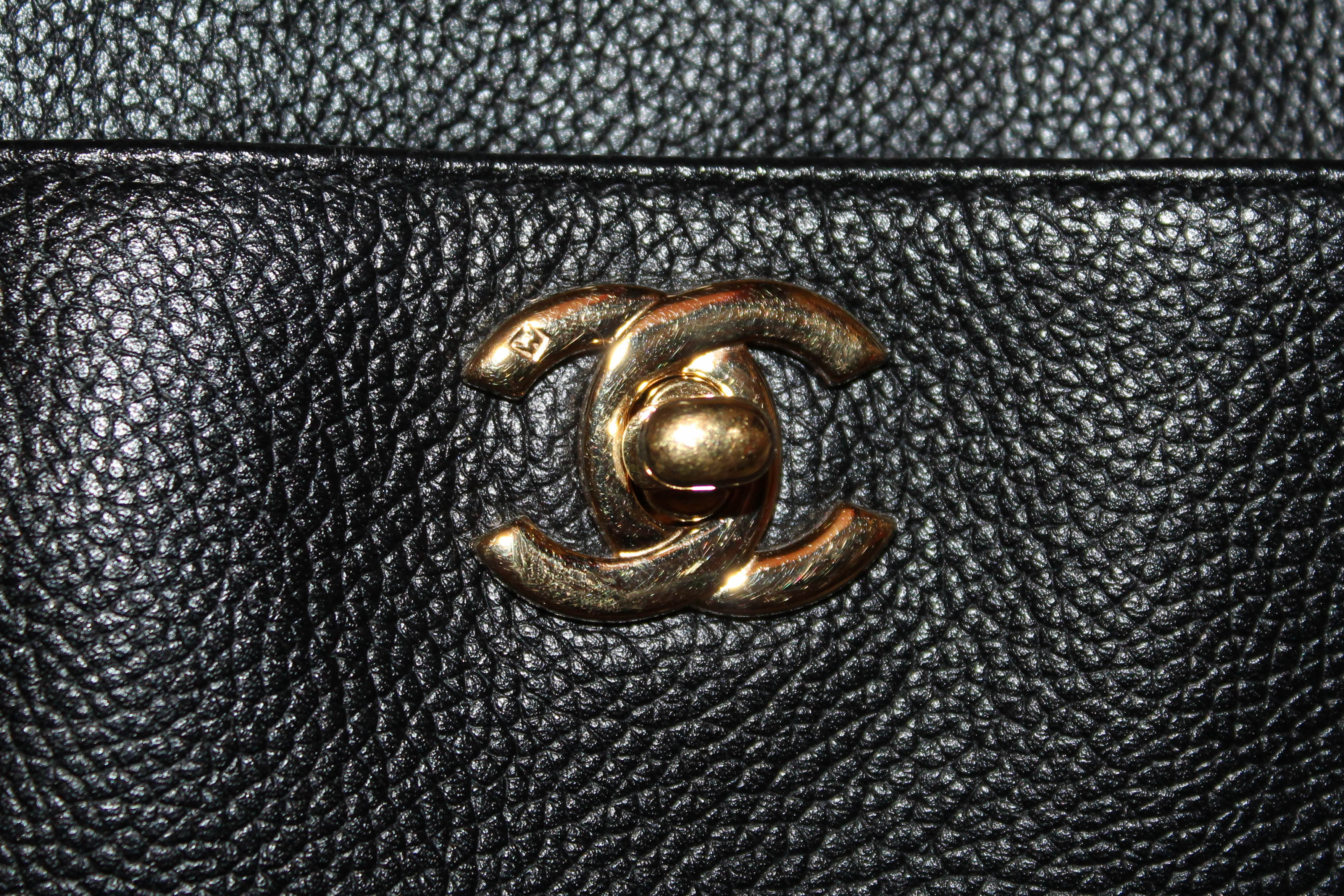 Authentic Chanel Black Caviar Leather Cerf Tote Shoulder Bag