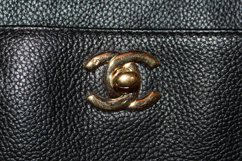 Authentic Chanel Black Caviar Cerf Tote Shoulder Bag