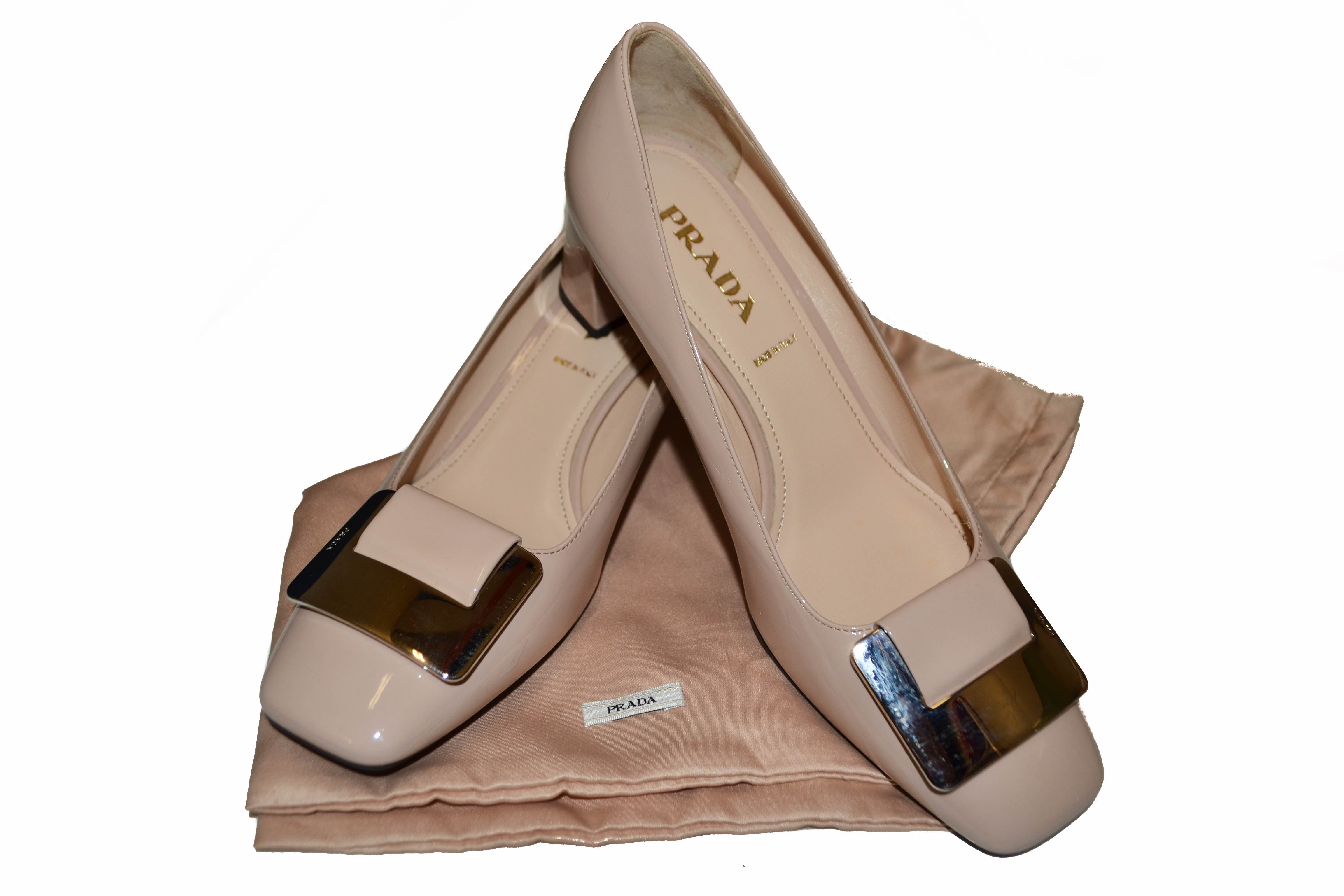 Authenti Prada Beige Patent Leather Pumps Size 37.5