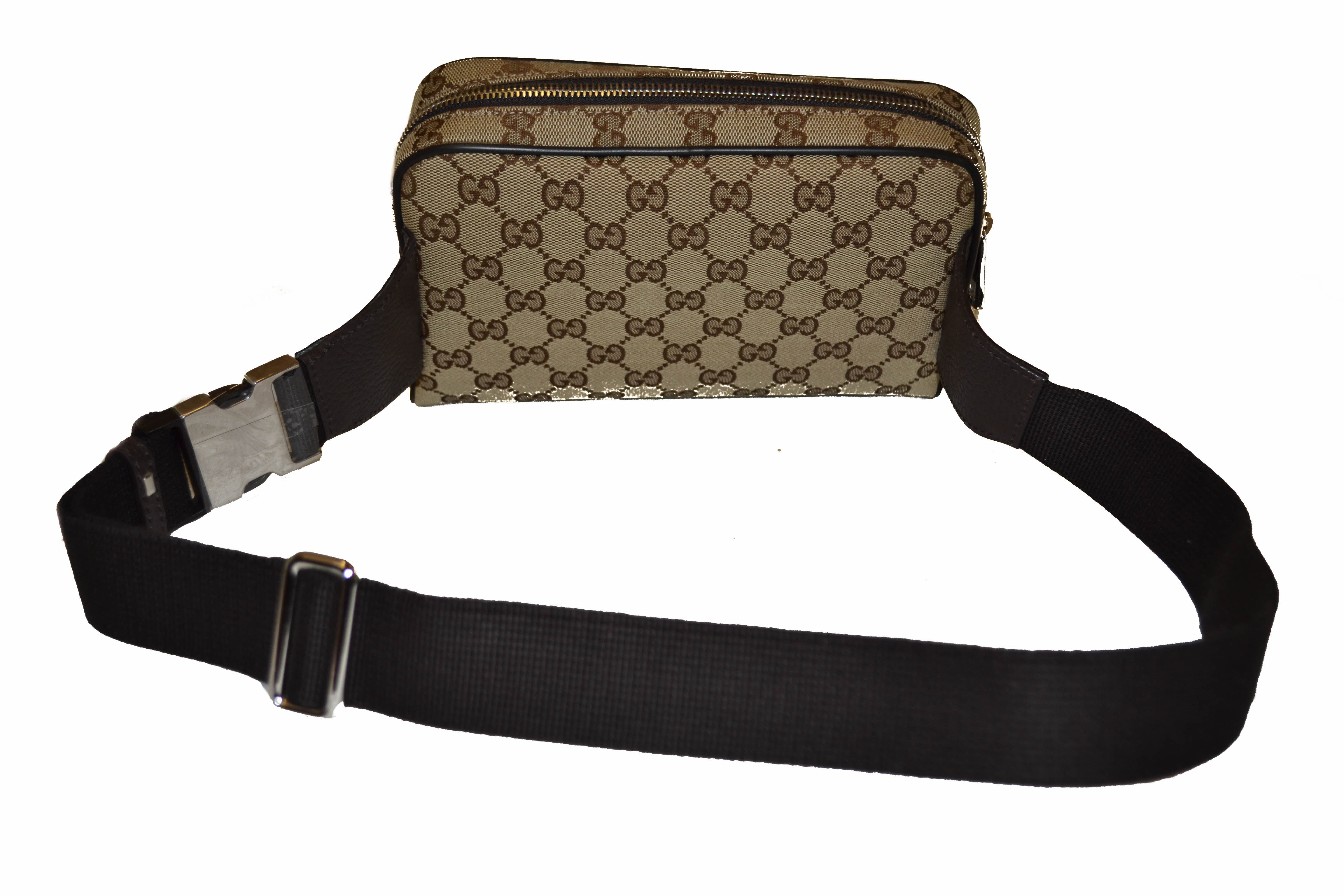 Authentic New Gucci Brown Signature GG Fabric Waistbag