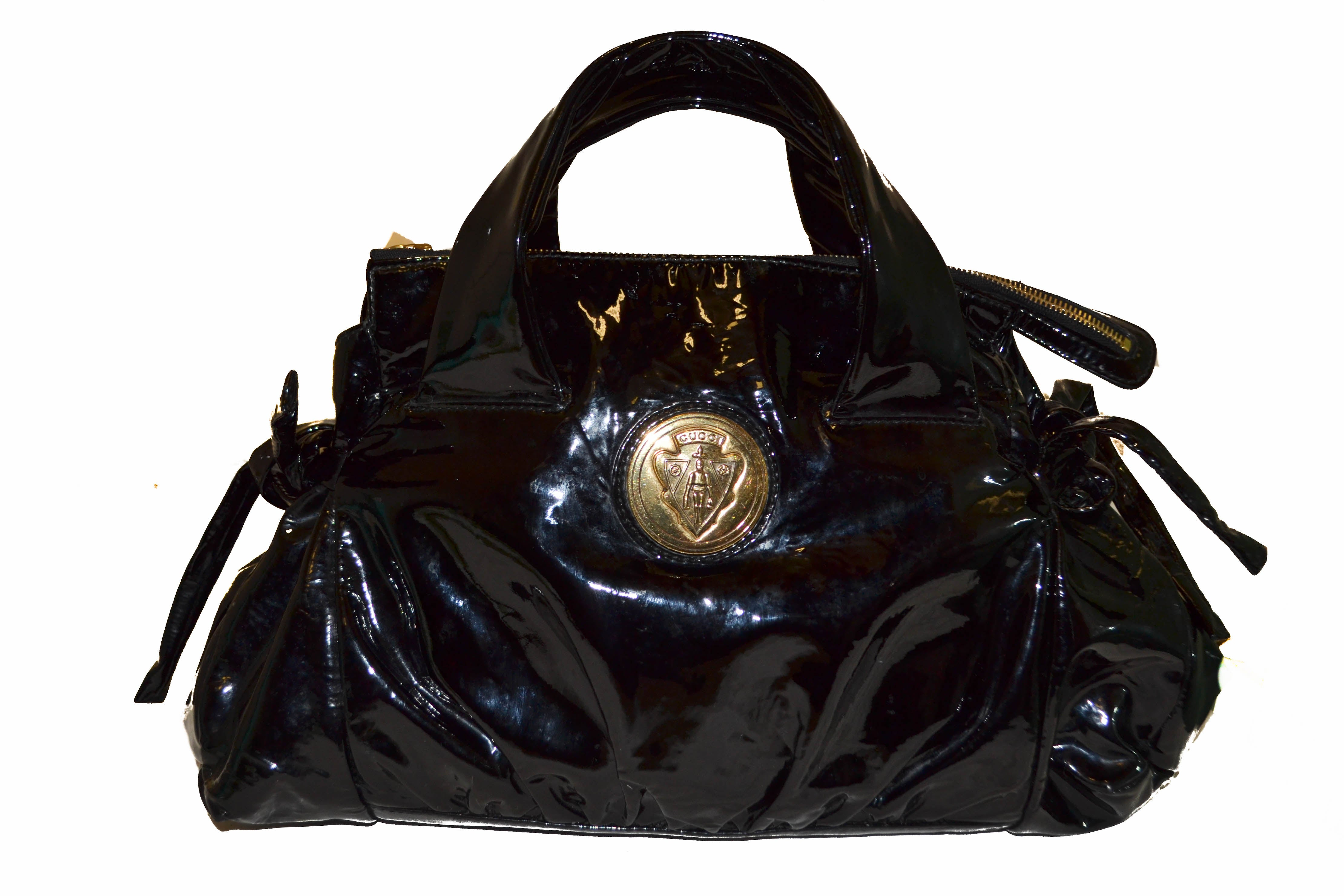 Authentic Gucci Hysteria Collection Black Patent Leather Handbag ... ce523b2bb1478