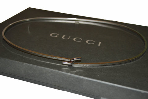 Authentic Gucci Plain Metal Silver Belt
