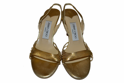 Authentic Jimmy Choo Metallic Gold Sandal Size 36.5