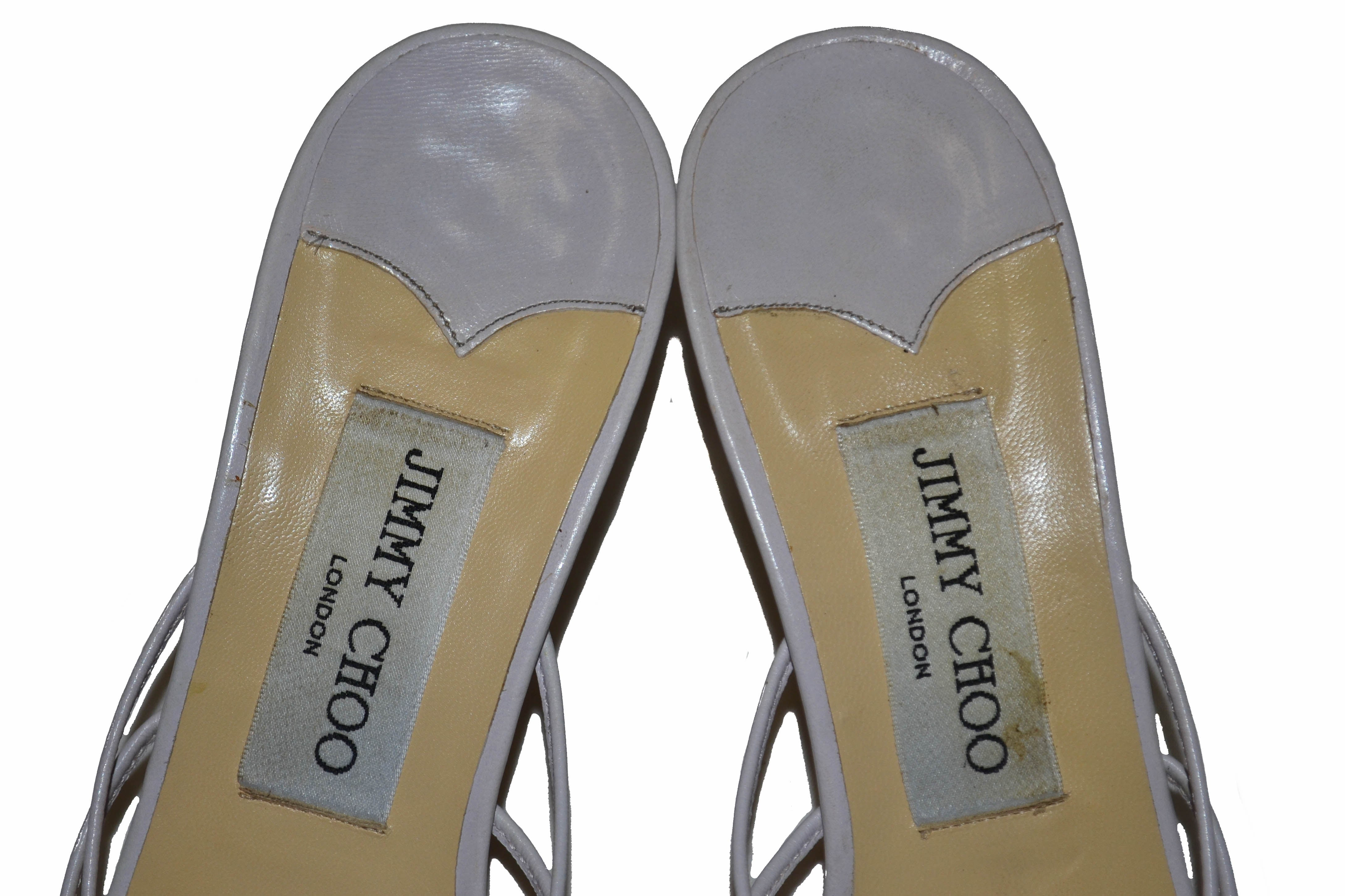 Authentic Jimmy Choo White Leather Sandal Size 37