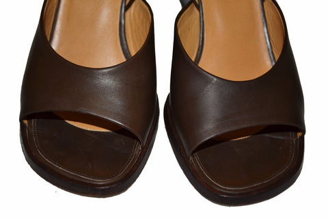 Authentic Hermes Brown Calfskin Leather Wedge Sandal 36.5
