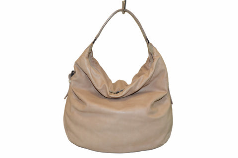 Authentic Bottega Veneta Beige Lambskin Leather Shoulder Bag