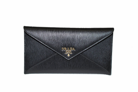Authentic New Prada Saffiano Black Envelope Long Wallet