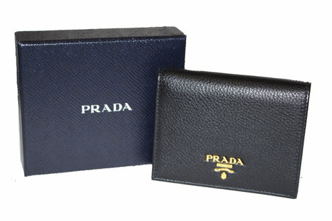 Authentic New Prada Grained Calfskin Leather Small Wallet
