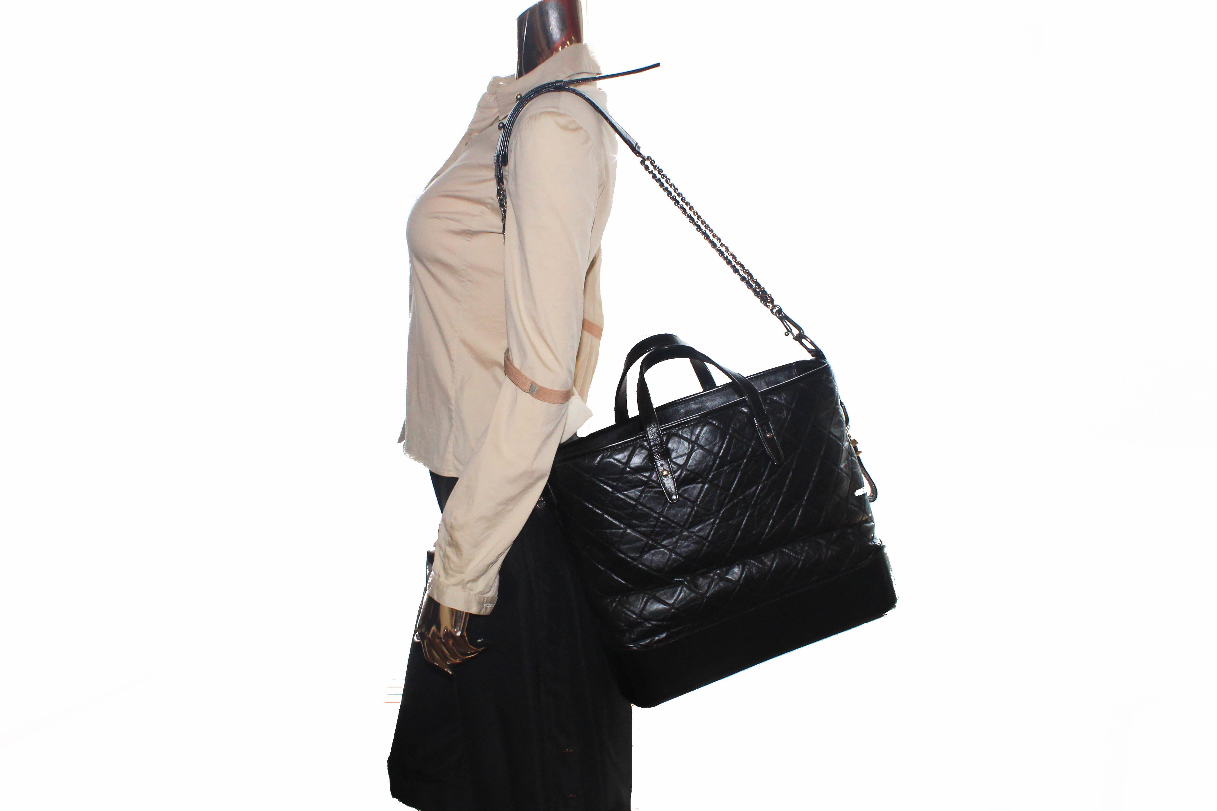 Authentic Chanel Black Aged Calfskin Quilted Large Gabrielle Shopping Tote