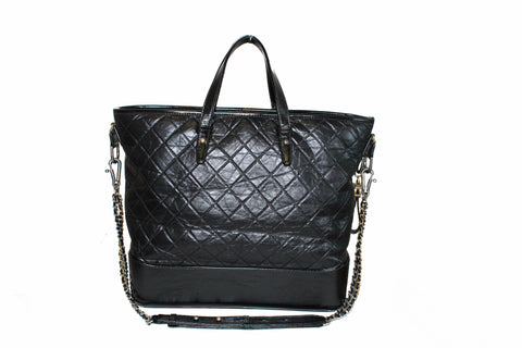 9d6ffc159 Authentic Chanel Black Aged Calfskin Quilted Large Gabrielle Shopping Tote  ...