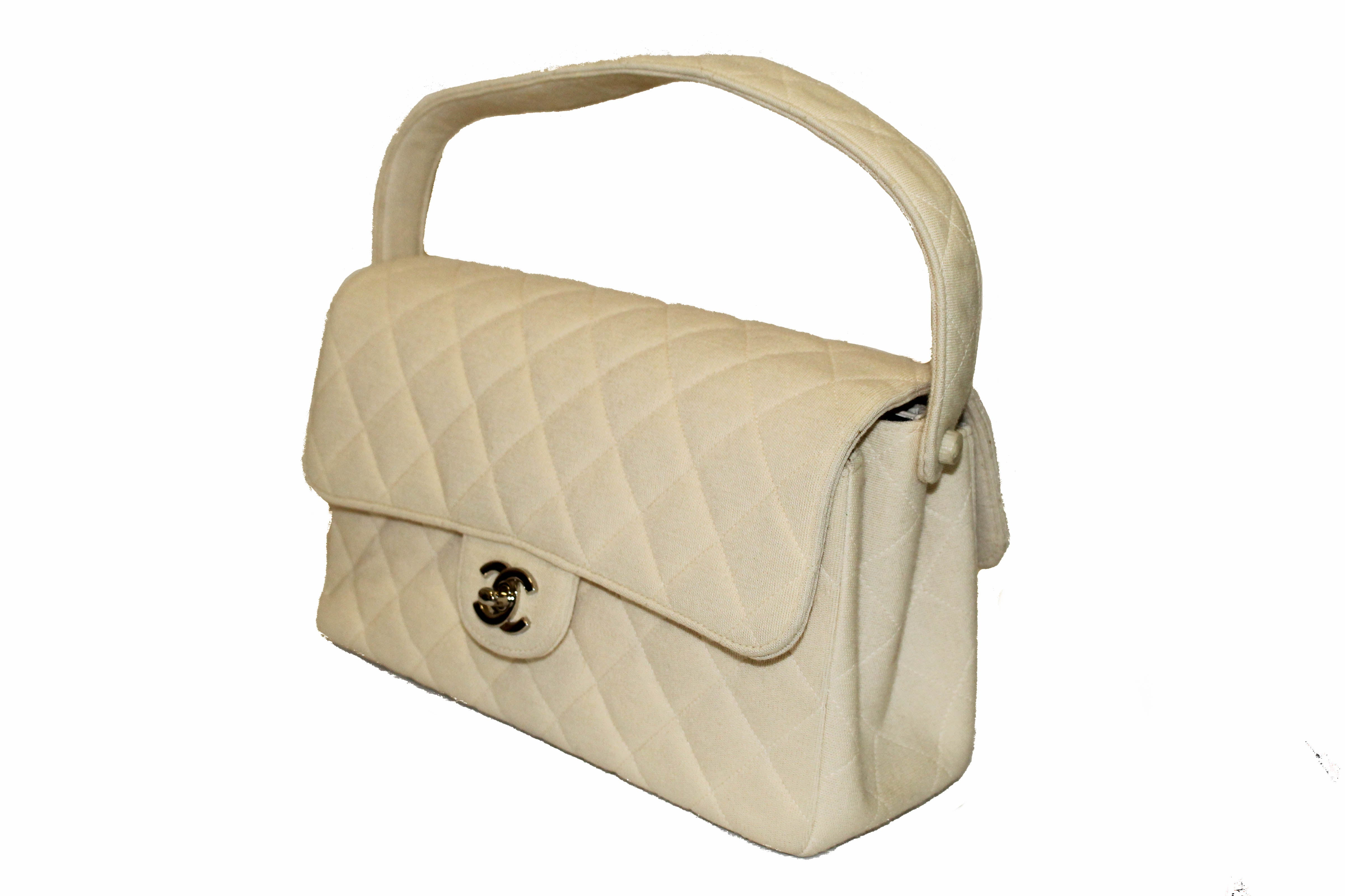 Authentic Chanel Beige Quilted Fabric Double Sided Flap Shoulder Bag