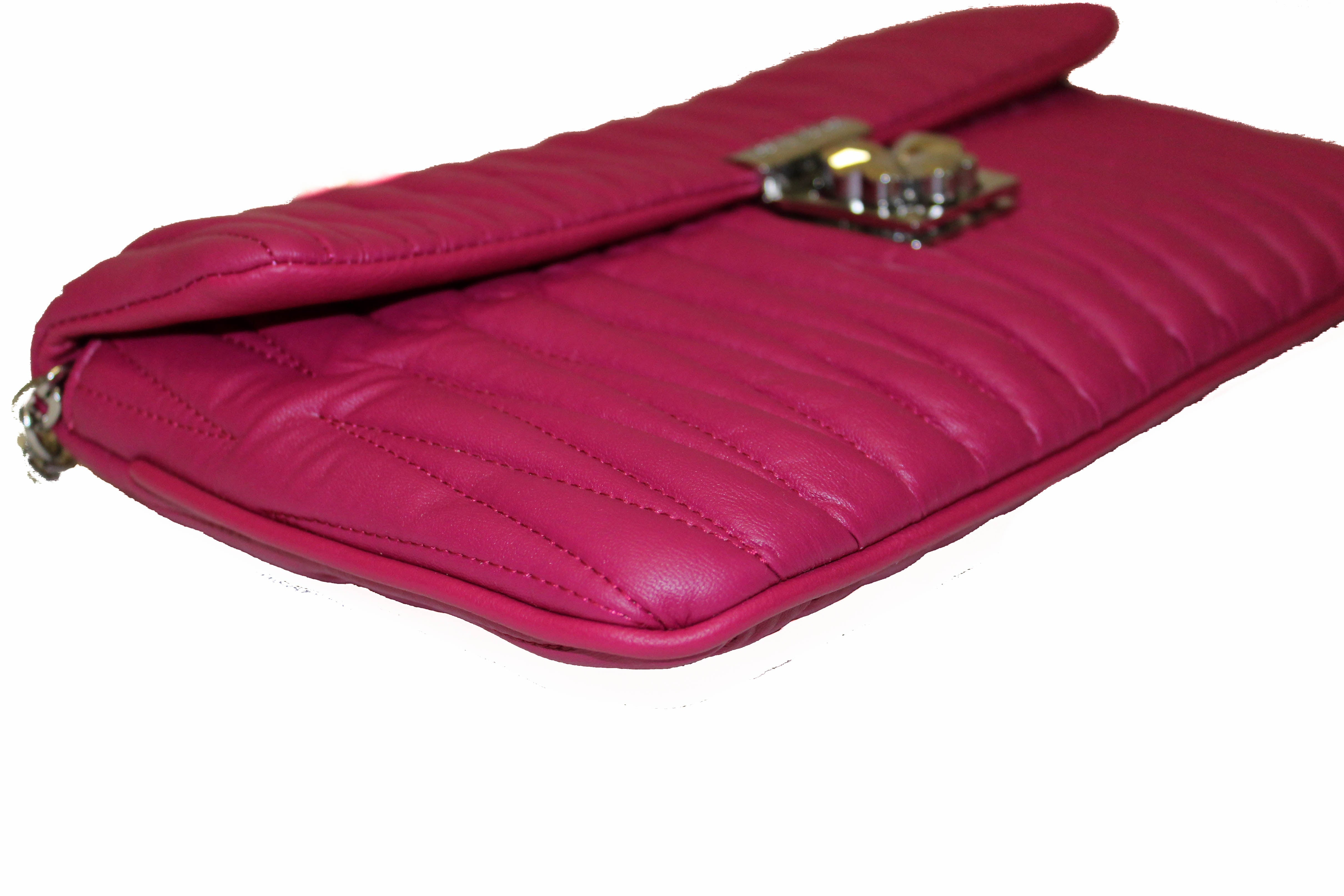 Authentic Miu Miu Magenta Quilted Leather Clutch/Crossbody Bag